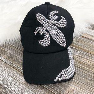 MARDI GRAS BLING FLEUR DE LIS baseball hat
